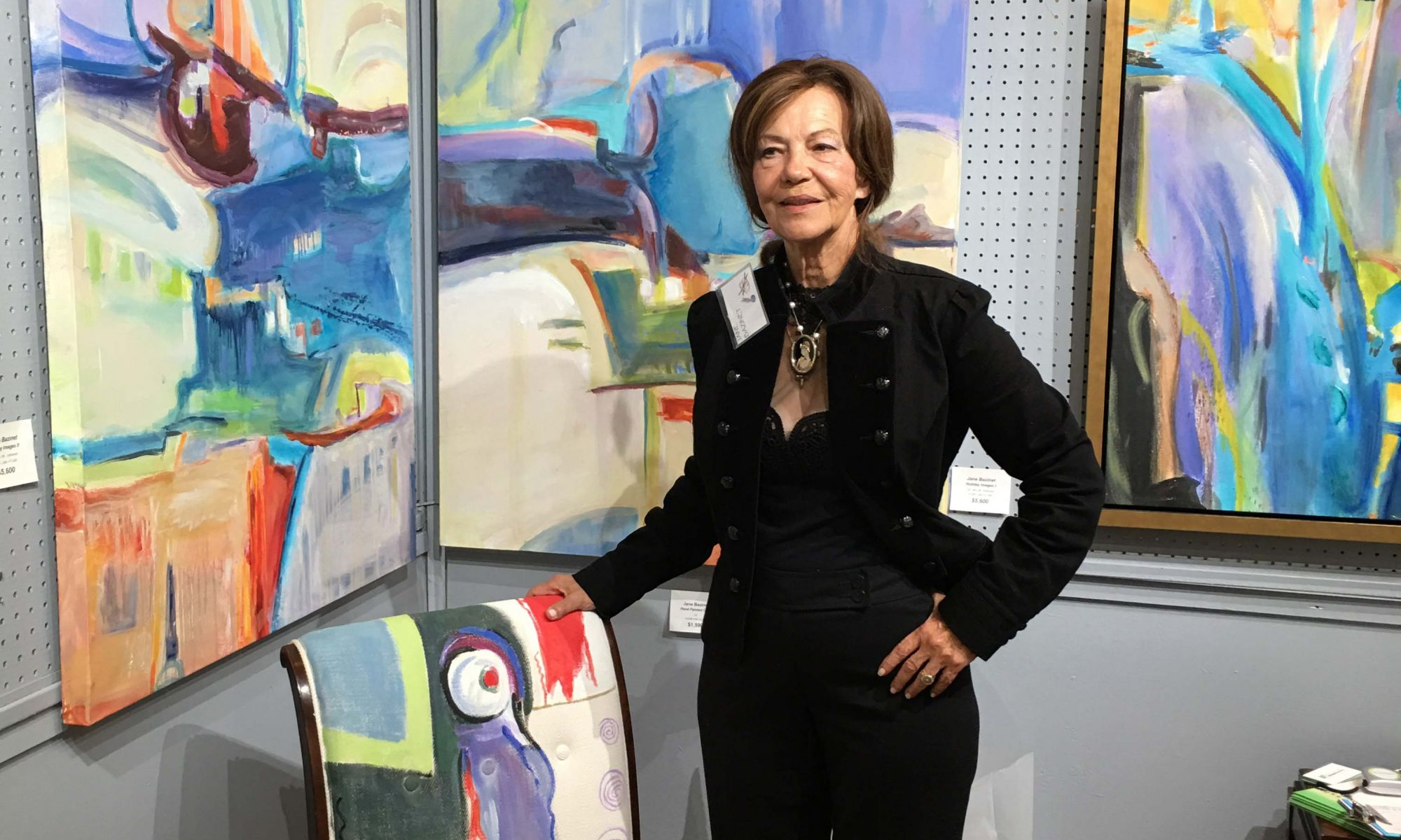 Jane Bazinet at Coconut Grove Gallery Showing Her Abstract Paintings