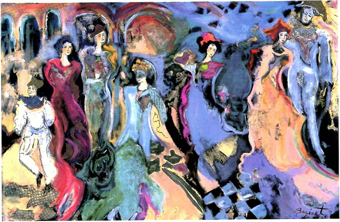 Mardi Gras Painting by Jane Bazinet